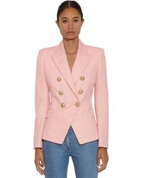 Balmain Grain De Poudre Double Breasted Blazer - Pink