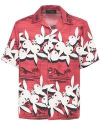 Amiri Playboy Aloha シルクツイルシャツ - レッド