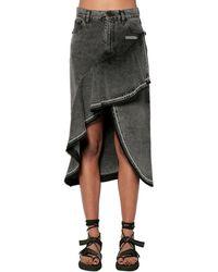 Off-White c/o Virgil Abloh Ruffled Cotton Denim Midi Skirt - Grey