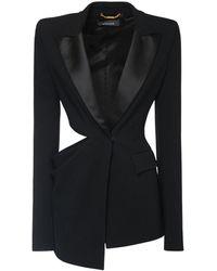 Versace Blazer Asimétrico De Crepé - Negro