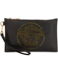Versace - Perforated Medusa Grained Leather Pouch - Lyst