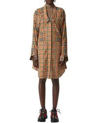 Burberry Checked Cotton Poplin Shirt Dress - Natural