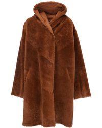 Liska Reversible Fur Long Coat W/ Hood - Brown