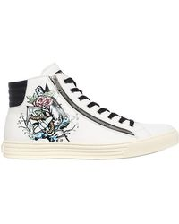 Hogan Rebel - Tattoo Printed Leather High Top Trainers - Lyst