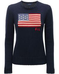 Polo Ralph Lauren American Flag インターシャコットンセーター - ブルー