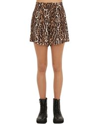 R13 Shorts Aus Voile Mit Leopardenprint - Braun