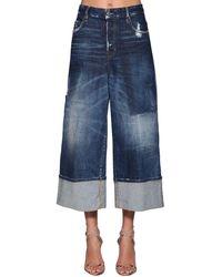 DSquared² Jinny Cropped Wide Leg Denim Jeans - Blue