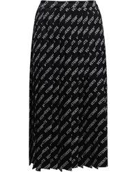 Vetements Allover Logo Pleated Viscose Blend Skirt - Black