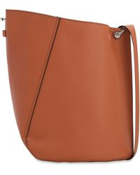 Lanvin Medium Asymmetrical Leather Bucket Bag - Brown