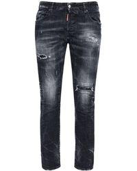 """DSquared² 17cm Jeans Aus Baumwolldenim """"tidy Biker"""" - Schwarz"""