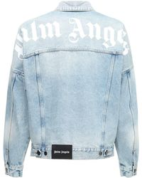 Palm Angels Oversize Logo Print Cotton Denim Jacket - Blue
