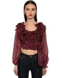 Dolce & Gabbana オーガンザクロップドシャツ - レッド