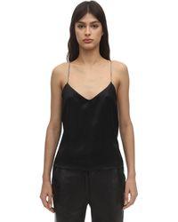 ANOUKI Cross Back Silk Camisole Top - Black