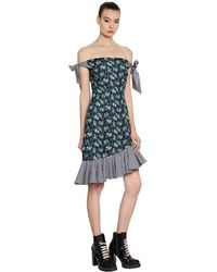 House of Holland Crepe & Gingham Off The Shoulder Dress - ブルー