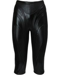 Mugler Embossed Shiny Jersey Biker Trousers - Black