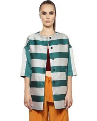 Annie P - Striped Techno & Silk Duchesse Coat - Lyst
