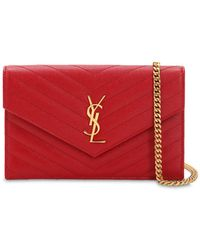 Saint Laurent Sm Monogram Quilted Leather Bag - Red