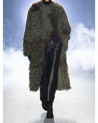 Alberta Ferretti Двустороннее Пальто Из Овчины - Зеленый