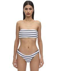 Eberjey Retro Striped Rib Bandeau Bikini Top - Белый