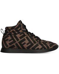 Fendi 20mm Nylon High Top Sneakers - Коричневый