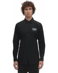 Moschino Cotton Poplin Shirt W/ Logo Patch - Черный