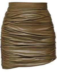 Zeynep Arcay Draped Patent Leather Mini Skirt - Green