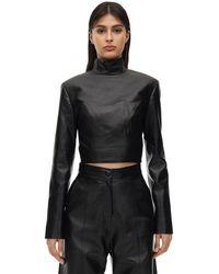 Matériel Cropped Faux Leather Top - Black