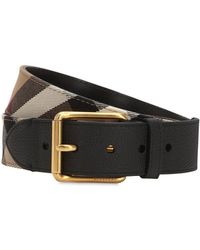 Burberry - 40mm House Check Canvas & Leather Belt - Lyst