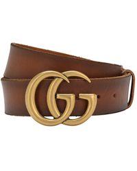 Gucci Кожаный Ремень Gg 4см - Коричневый