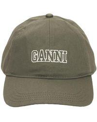Ganni Кепка Из Органического Хлопка - Зеленый
