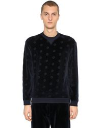 Giorgio Armani Logo Cotton Velvet Sweatshirt - Blue