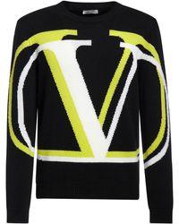 Valentino インターシャニットカシミア&ウールセーター - ブラック