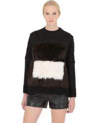 Fendi - Shearling & Wool Blend Sweatshirt - Lyst