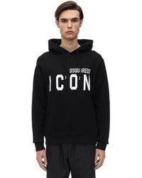 """DSquared² Sweat-Shirt En Jersey De Coton À Capuche """"Icon"""" - Noir"""