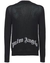 Palm Angels - Свитер Из Хлопкового Трикотажа С Логотипом - Lyst