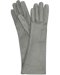 Mario Portolano Long Leather Gloves - Gray