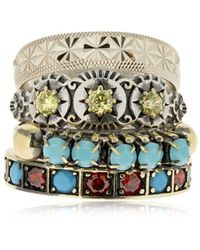 Iosselliani Set Of 4 Rings - Metallic