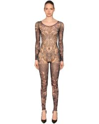 DSquared² - Printed Stretch Tulle Jumpsuit - Lyst