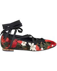 Paloma Barceló - 10mm Embroidered Satin Lace Up Flats - Lyst
