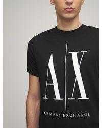 Armani Exchange T-shirt En Jersey De Coton Logo Imprimé - Noir