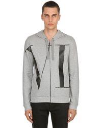 Valentino Sweatshirt Aus Baumwolle Mit Logo Und Zip - Grau