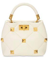 Valentino Garavani Sm Roman Studded Leather Bucket Bag - White