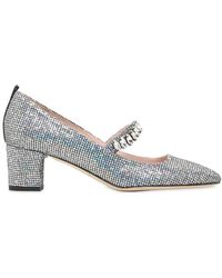SJP by Sarah Jessica Parker | 50mm Dazzle Glittered Mary Jane Court Shoes | Lyst