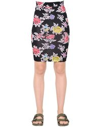 House of Holland Rose Printed Viscose Jersey Pencil Skirt - ブラック
