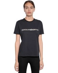 Paco Rabanne - Logo Printed Cotton Jersey T-shirt - Lyst