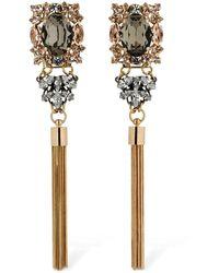 Anton Heunis Omega Clasp Crystal & Tassel Earrings - Mettallic