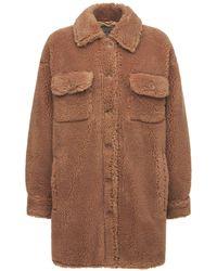 Stand Studio Sabi Faux Fur Teddy Shirt Jacket - Natural