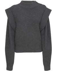 Isabel Marant Peggy Wool Blend Knit Sweater - Grey