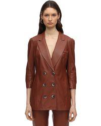 Zeynep Arcay Wrapped Leather Blazer - Brown