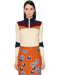 Stella Jean - High Collar Knit & Chenille Jumper - Lyst